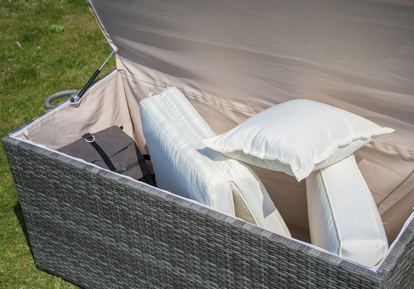 Storage Bin Deck Box PE Wicker Outdoor Patio Cushion Container Garden Furniture, Grey by PatioPost (Image #7)