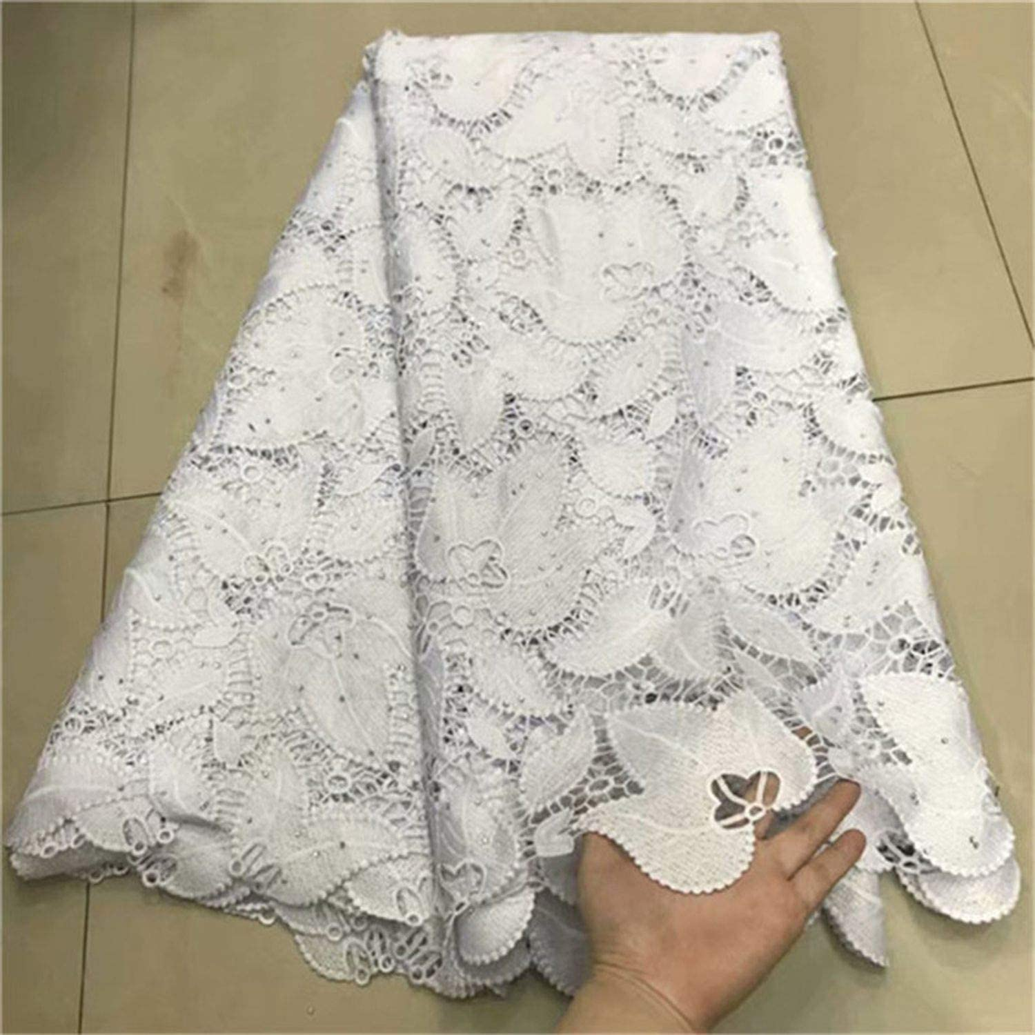 2019 Latest African Cord Lace Fabrics Nigerian Lace Fabric 2019 Lace Sky Blue French Lace Fabric for Wedding,As Shown 5