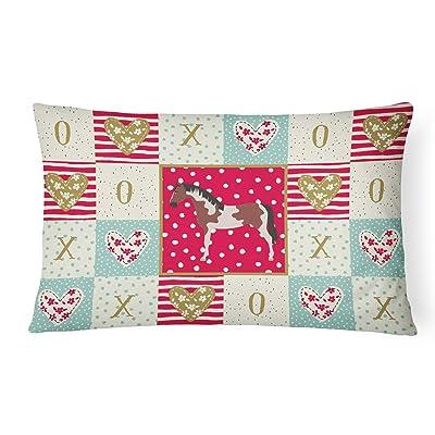 Caroline's Treasures CK5334PW1216 Pinto Horse Love Canvas Fabric Decorative Pillow, 12H x16W, Multicolor : Garden & Outdoor