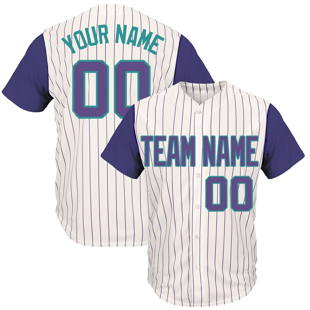 Custom Men's White Pinstriped Big & Tall Baseball Jersey with Sewn Team Name Player Name and Numbers,Tan-Purple Size 4XL by DEHUI