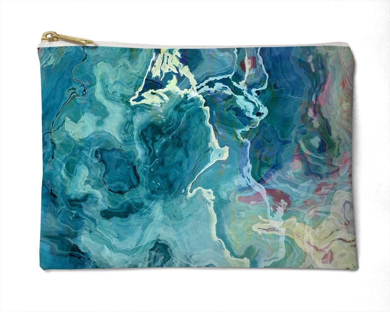 Makeup Bag or Pencil Case with Abstract Art in Aqua and White, Cool As a Cucumber