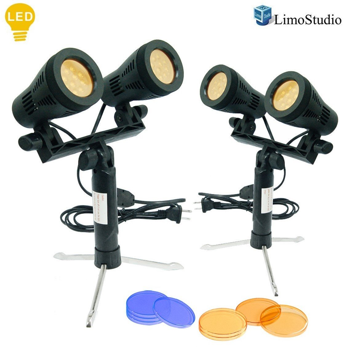 LimoStudio 2 Sets Continuous 600 Lumen LED Portable Lighting Lamp for Table Top Photography Photo Studio With Color Filters, AGG2347