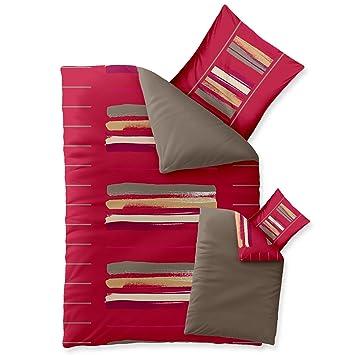 Bettwasche 155x220 Baumwolle Trend Helina Uni Streifen Rot Grau