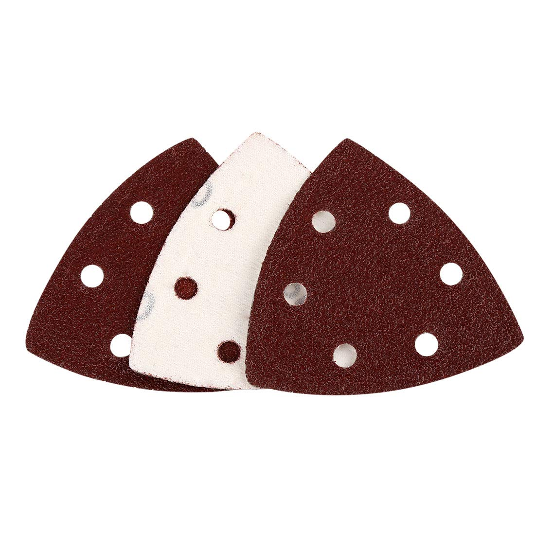 uxcell 50 Pcs 3.5 Inch Hook and Loop Sanding Discs Pads 40 Grit 6-Hole Triangle Sandpaper