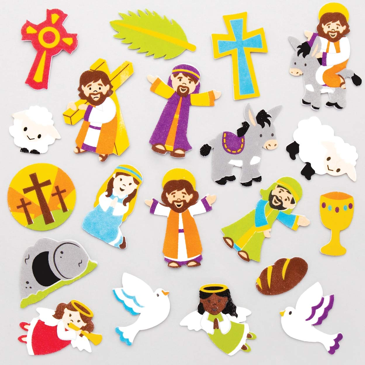 120 Pack Baker Ross Holy Week Foam Stickers Arts and Crafts Supplies for Kids at Easter
