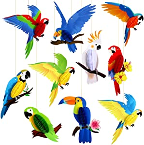 10 Pieces Tropical Birds Honeycomb Paper Cutouts, Parrot Honeycomb, Hawaiian Summer Beach Luau Party Hanging Decorations for Tiki Bar Luau Summer Party Home Classroom Supplies