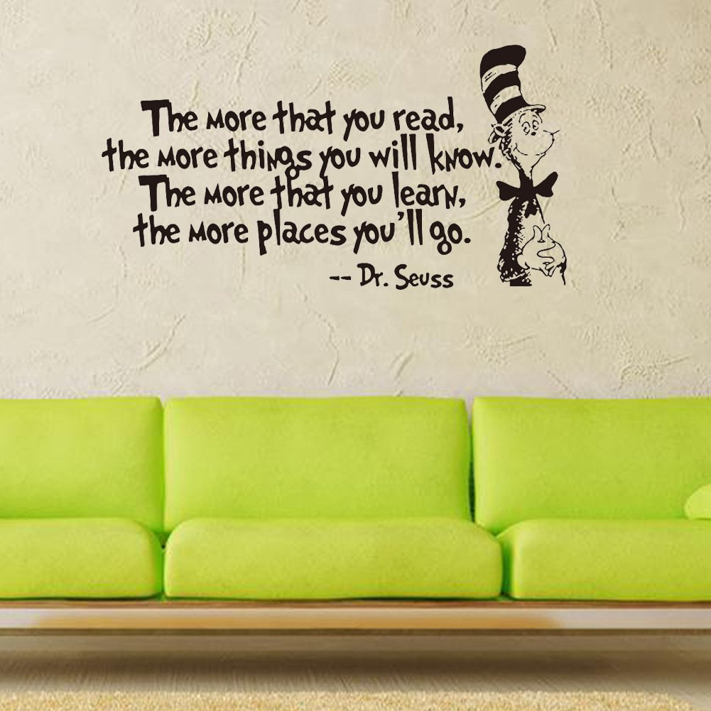 Removable Quotes and Saying Dr. Seuss the More You Read, the More Things You Will Know Transfers Murals Reading Wall Decal Love Baby Kids Children Bedroom School Art Wall Decals Stickers by Dofel (Image #4)