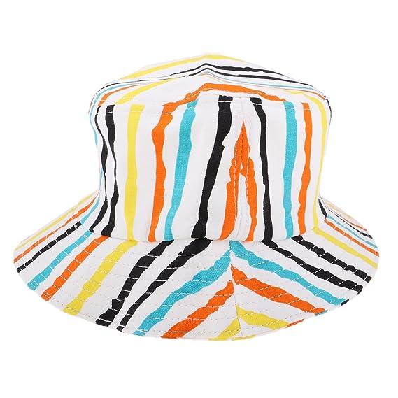 ... Sombrero de Sol Ala Ancha Algodón Rayado Gorro Plegable para Playa  Viaje Camping - Amarillo y negro 703bddcbd5ae