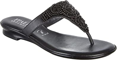 858469a63575 ITALIAN Shoemakers Womens Mystify Jeweled Sandals 6 Black