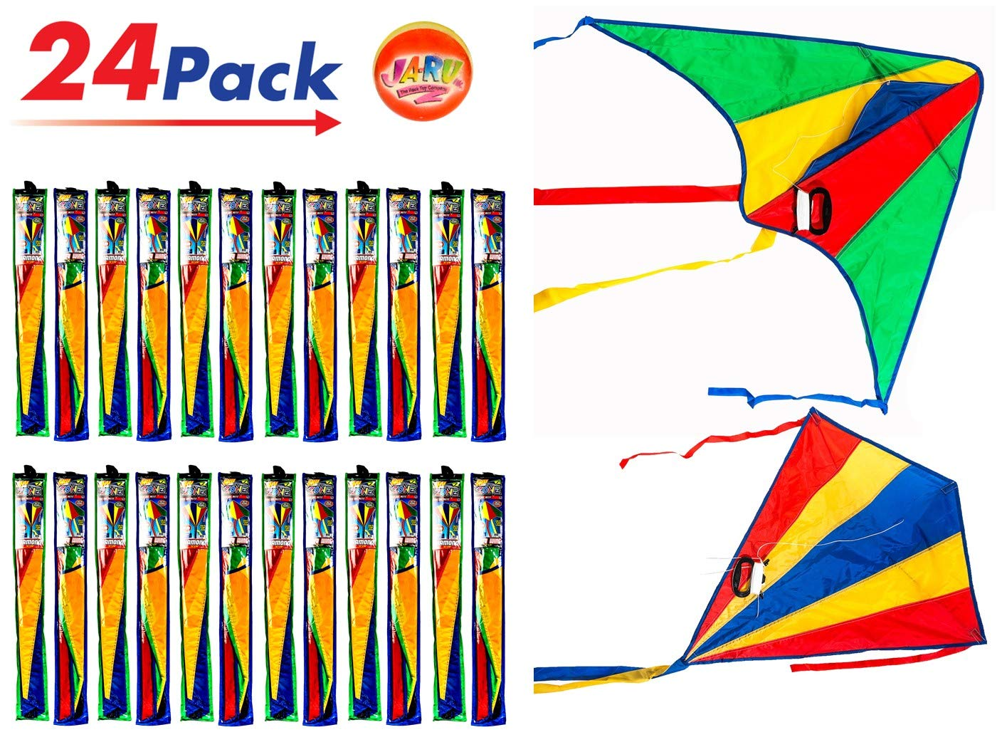 2CHILL Delta Kite Nylon Large in Bulk (Pack of 24) Plus 1 Bouncy Ball - Easy to Assemble, Launch, Fly - Premium Quality 9877-24p by 2CHILL