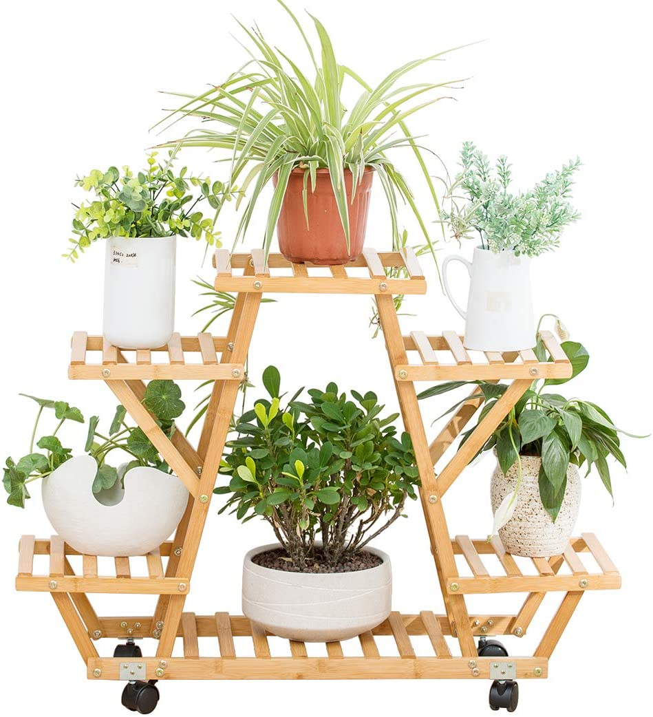 B07VZBQWCG Bamboo Rolling 6 Tier Plant Stand Rack Multiple Flower Pot Holder Shelf Indoor Outdoor Planter Display Shelving Unit for Patio Garden Corner Balcony Living Room 71OWB0mccJL