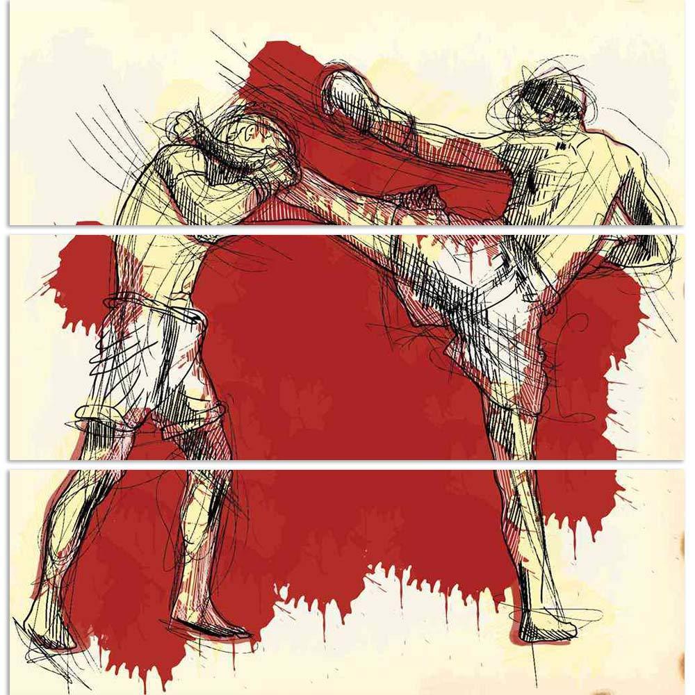 ArtzFolio Muay Thai Martial Art Kickboxing In Thailand 1 Split Art Painting Panel on Sunboard 24 x 24inch Vishnu Image Folio Pvt Ltd AZART18092125SPL_FR_L_01_SB