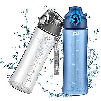 OMorc 600ml Botella de Agua Deporte, Muy Resistente Fabricado Con Un Plástico Libre de BPA