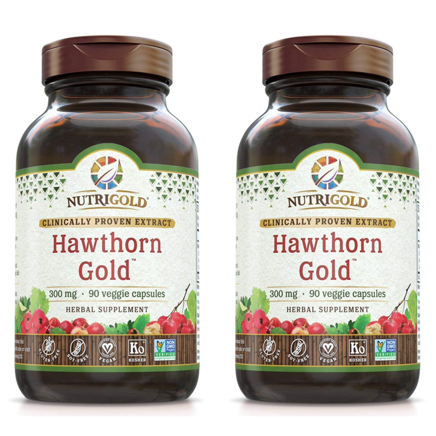 Nutrigold Hawthorn Gold Clinically Proven Extract for Cardiac Muscle Tone, Blood Vessel Integrity and Healthy Circulation (90 Veggies Capsules) Pack of 2