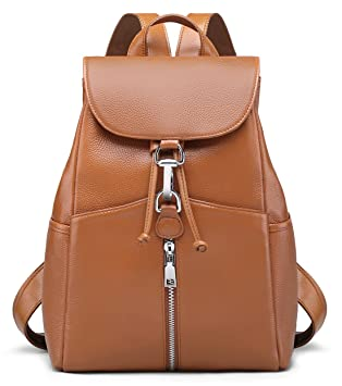 4e7a2461a508 New Women Real Genuine Leather Backpack Purse vintage SchoolBag by Coolcy  (Brown)