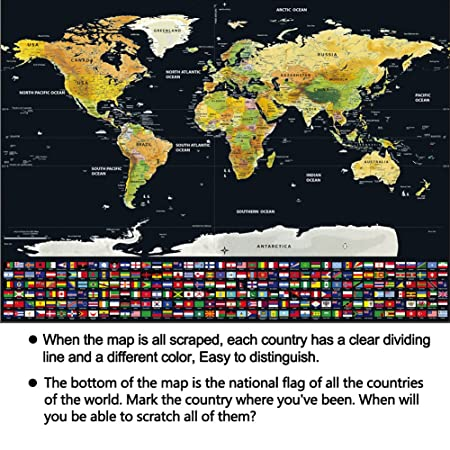 Scratch map black with golden coating scratch off world map scratch map black with golden coating scratch off world map bright colors deluxe edition travel world map for poster home decor with scratch tools large gumiabroncs Images