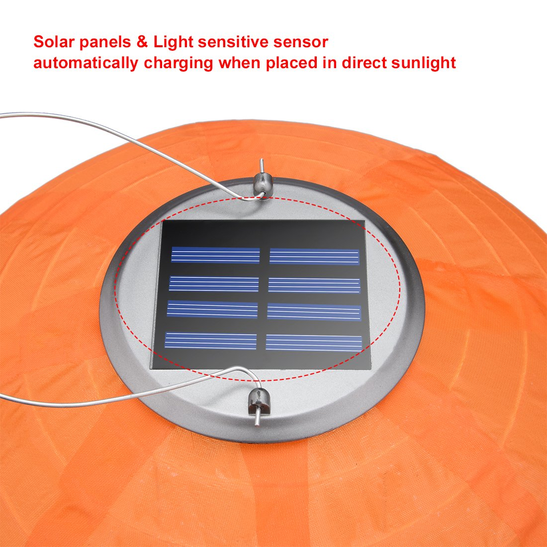 9 Packs Multi-Color 12'' Solar Powered Lanterns Hanging Solar Lamps for Garden by uxcell (Image #4)