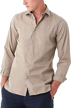Scalpers Camisa ALGODÓN Regular FIT - Taupe / 42: Amazon.es: Ropa y accesorios