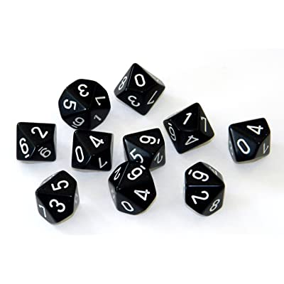 Chessex Dice Sets: Opaque Black with White - Ten Sided Die d10 Set (10): Toys & Games