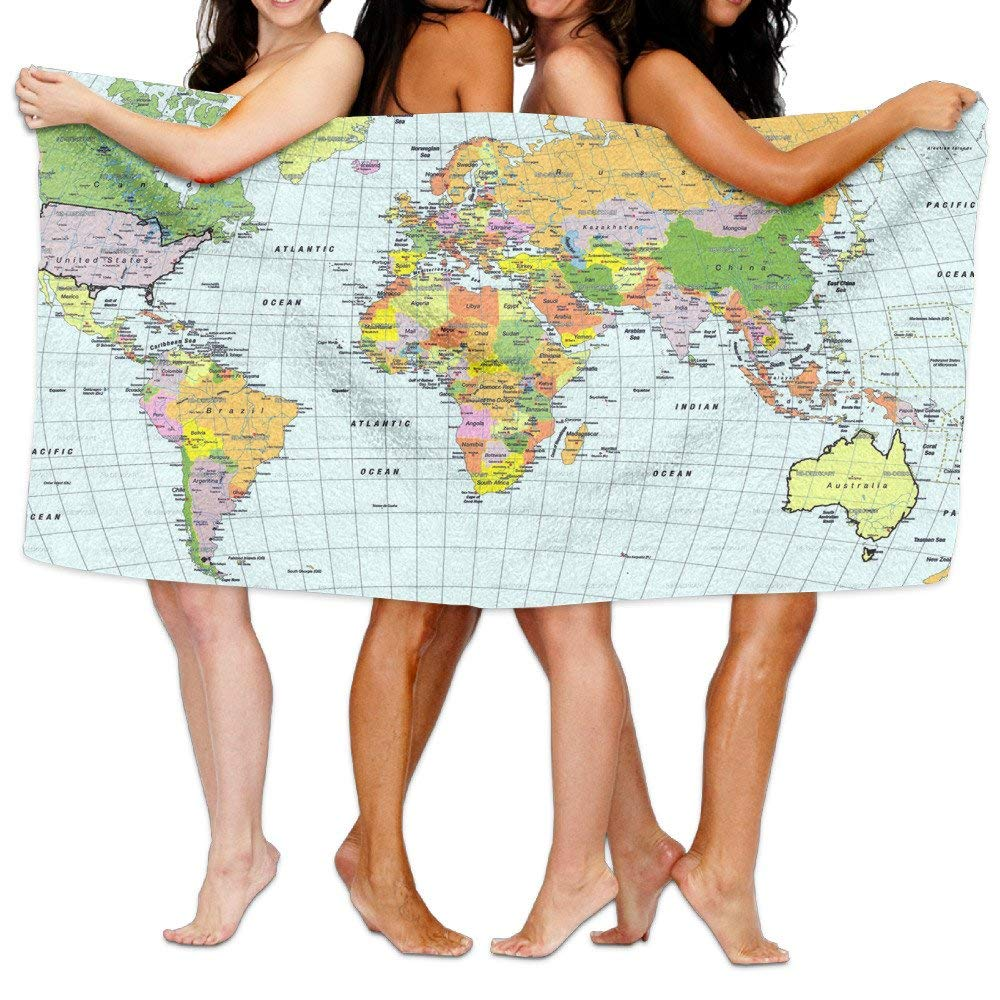 Chu warm Beach Towel World Map Pictures Unique Microfiber Absorbent Solid Bath Sheets by Chu warm