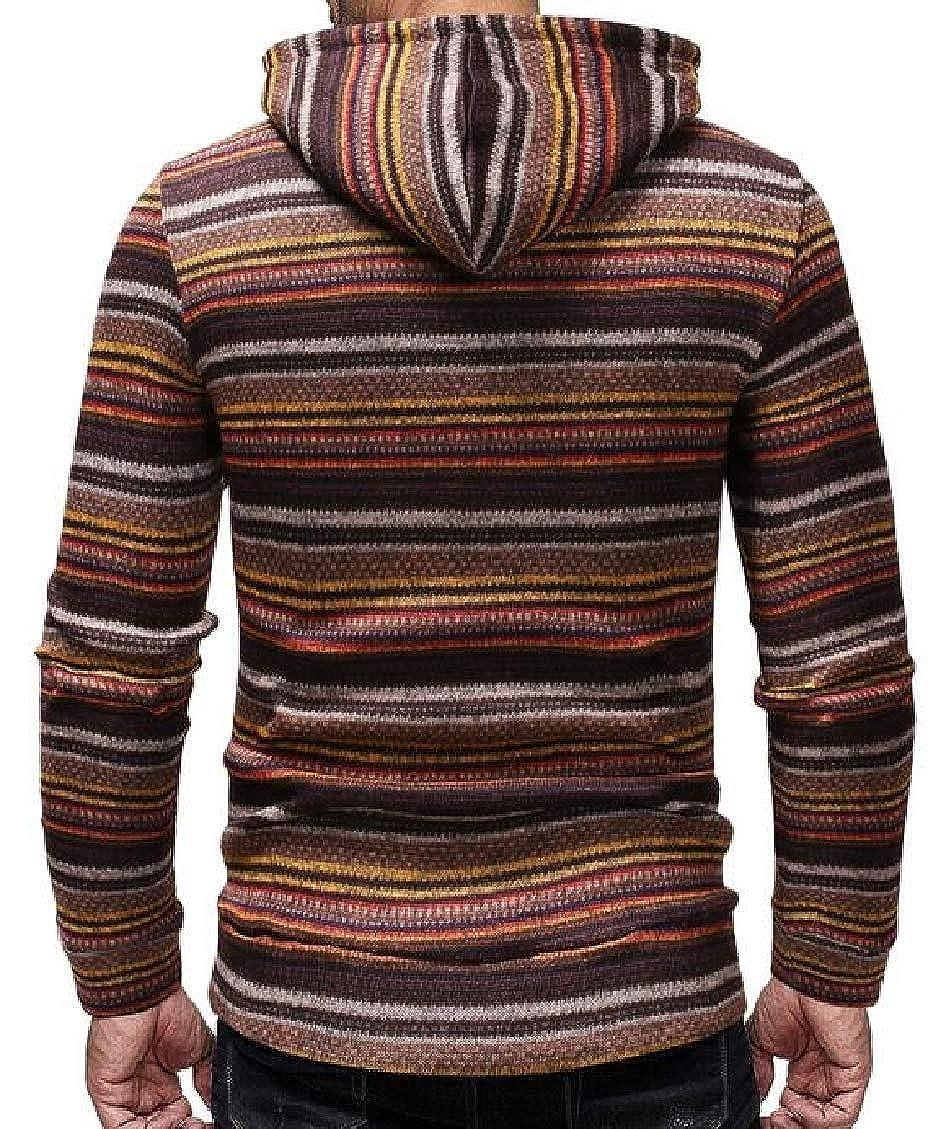 Sweatwater Men Striped Pullover Long-Sleeve Hoodies Drawstring Sweatshirts