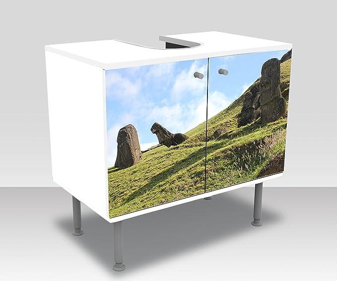 wandmotiv24 Mueble de baño Moai Pegado Frontal Lavabo, Mueble Lavabo M0871: Amazon.es: Hogar