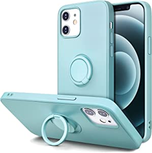 Hython Stand Case Compatible with iPhone 12 Case/iPhone 12 Pro Case, 360° Rotatable Ring Holder Magnetic Kickstand, Shockproof Protective Rubber Cover with Inner Microfiber Lining, Mint