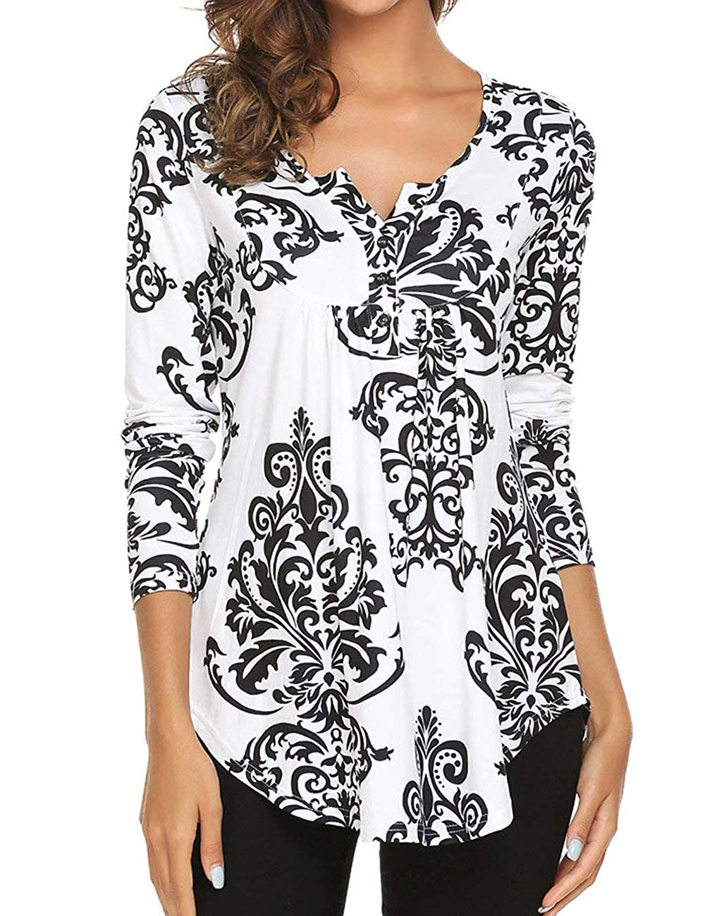 Miskely Women's Paisley Printed Short Sleeve Blouses V Neck Pleated Ruffle Casual Tunic Tops Shirt