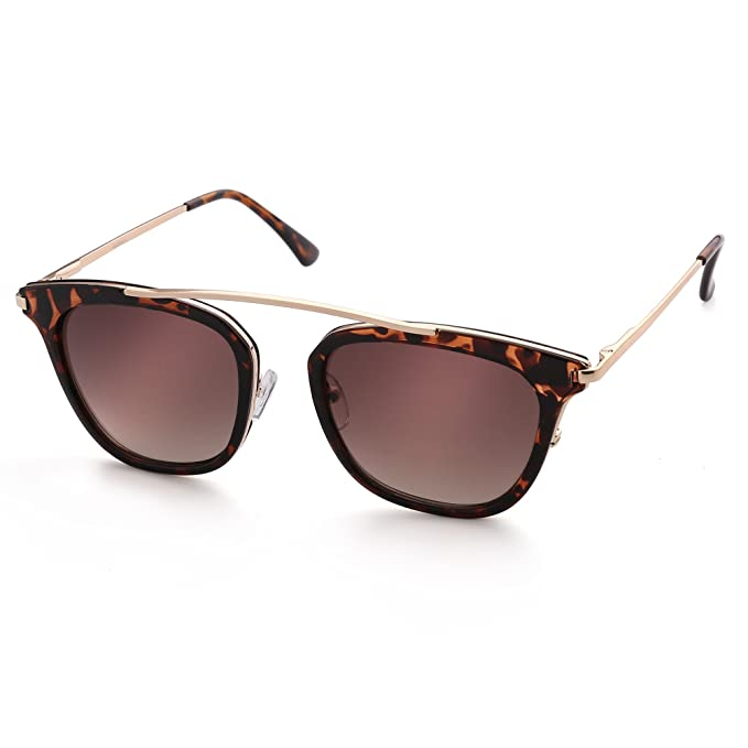cbabb08a09d5 Square Sunglasses for Women, Gold Metal Brow Bar, Tortoise Plastic Rimmed,  Brown Gradient