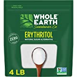 WHOLE EARTH 100% Erythritol Zero Calorie Plant-Based Sugar Alternative, 4 Pound Pouch