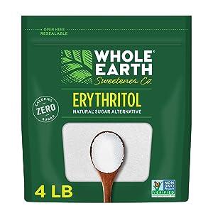 Whole Earth Sweetener Co. 100% Erythritol, 4 Pound Pouch, Natural Sugar Alternative, Baking Substitute, Zero Calorie, Gluten Free, Non-GMO, Keto