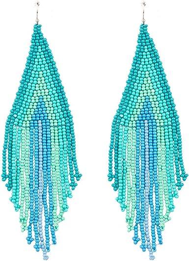 Seed bead earrings handmade turquoise white color seed bead Earrings New Boho