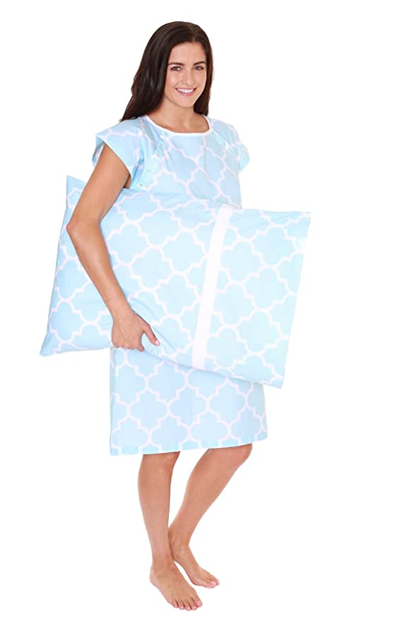 Gownies - Delivery Maternity Hospital Gown Set Labor Kit With Pillowcase, Hospital Bag Must Have, Best Baby Shower Gift (Large/XLarge pre pregnancy 10-16, Marin)