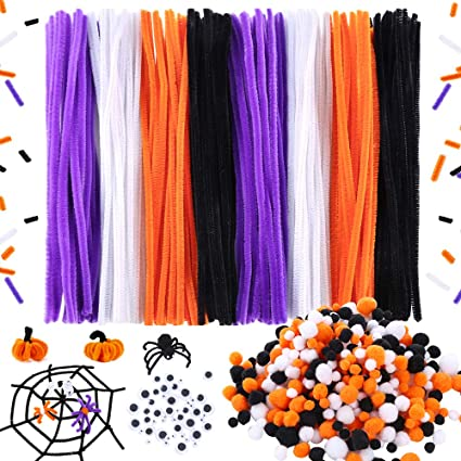 Caydo 700 Pieces Halloween Pipe Cleaners Sets Include 200pcs 4 Colors Pipe Cleaners 450pcs 4 Size 4 Colors Pom Poms And 50pcs 4 Size Wiggle Eyes For