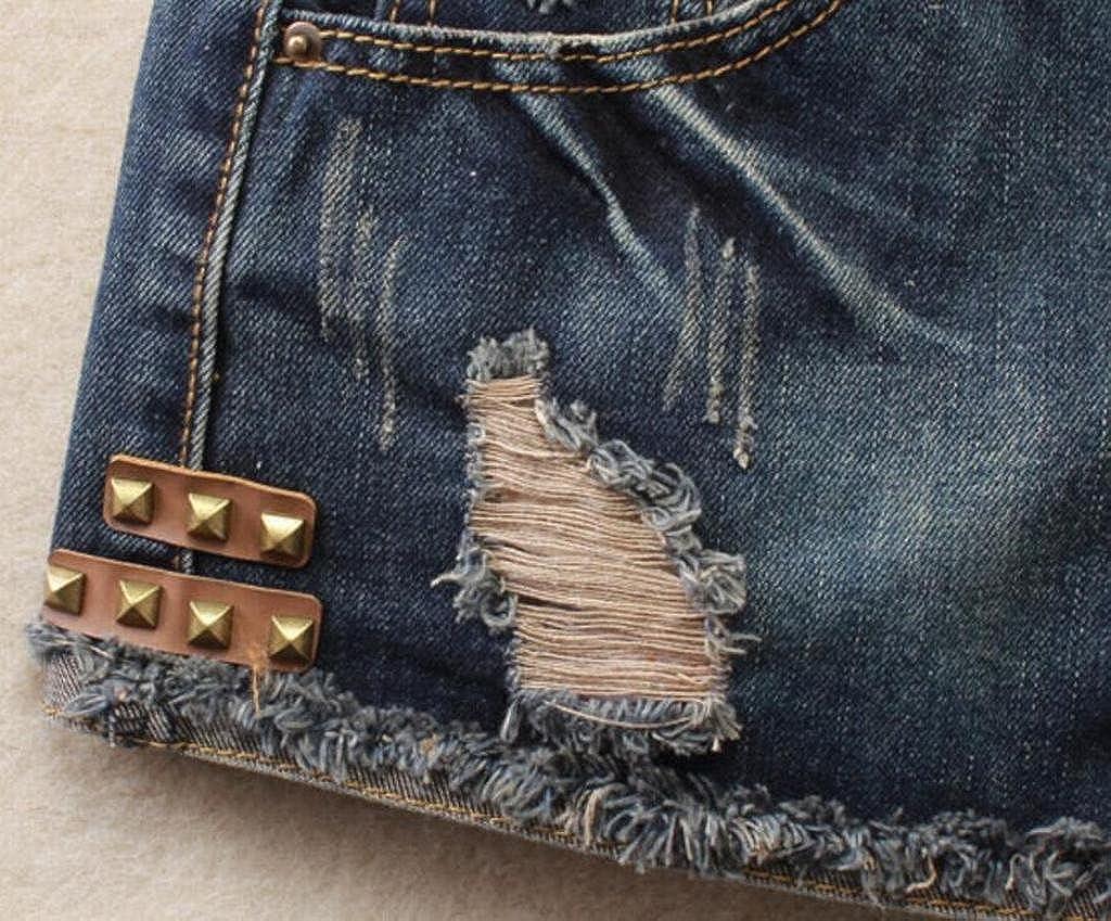 XTX Women Rivet Washed Denim Low Waisted Fashion No Belted Shorts Denim Shorts Jeans Hot Pants