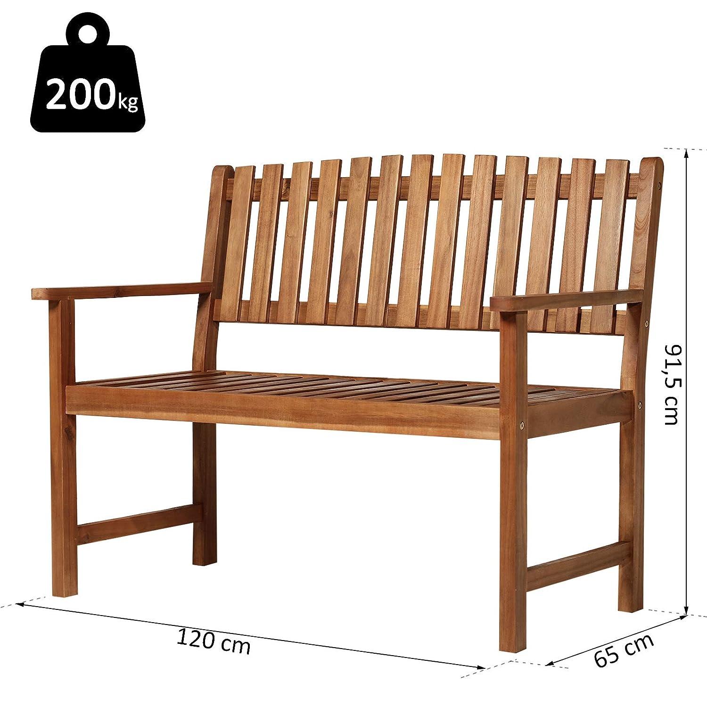 120L x 65l x 91H cm Charge Max 200 Kg Bois dacacia pr/é-huil/é Outsunny Banc de Jardin 3 Places dim