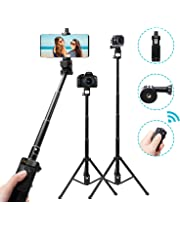 Selfie Stick Tripod with Remote Bluetooth for Gopro DSLR Action Camera iPhone X XS MAX XR 8 Plus 7 Plus Selfie Stick Samsung Galaxy S9 8 7 3.5-6'' Smartphone Wireless Extendable Monopod Tripod Stand