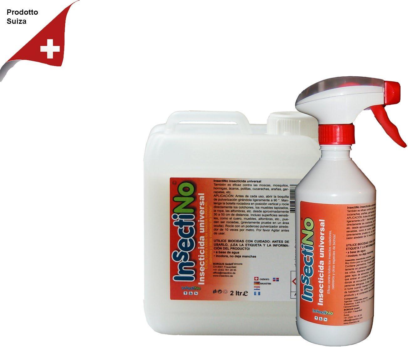 INSECTINO Insecticida Universal - 1 x bidón 2 LTR/1 x 500 ml - contra Las Moscas, Mosquitos, Hormigas, ácaros, polillas, cucarachas, arañas, garrapatas