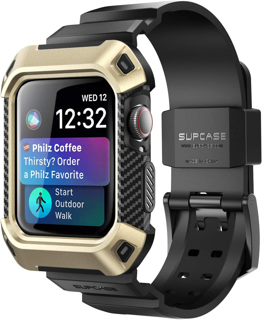 SUPCASE [Unicorn Beetle Pro] Designed for Apple Watch Series 6/SE/5/4 [44mm], Rugged Protective Case with Strap Bands(Gold)