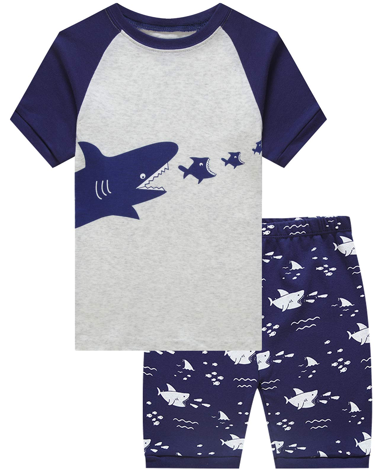 Boys Pajamas Shark Short Sets Toddler Pjs Clothes Kids Sleepwear Summer Shirts Size 14