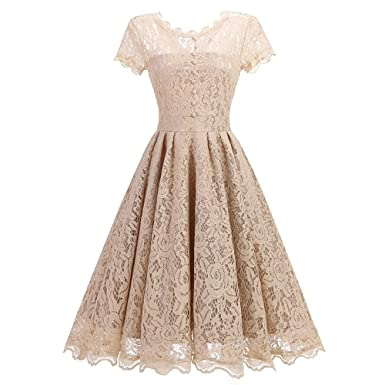 Ladyjiao Womens Floral Lace Prom Dress Short Cap Sleeves Retro Vintage Swing Cocktail Bridesmaid Dresses Beige