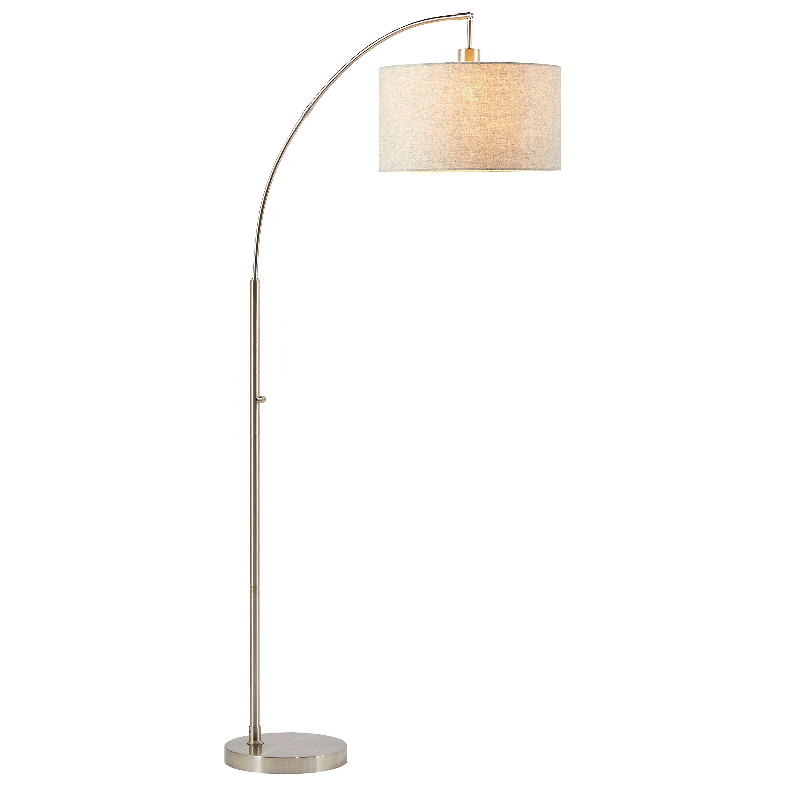 Rivet Steel Arc Floor Lamp, 69''H, With Bulb, Fabric Shade