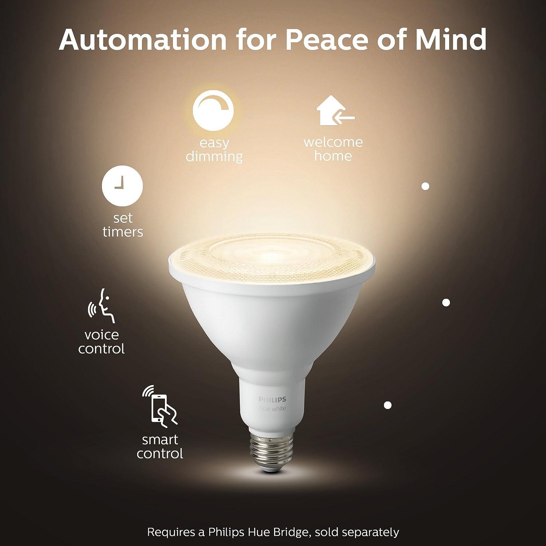 Philips Hue White Outdoor PAR38 13W Smart Bulbs (Philips Hue Hub required),  1 White PAR38 LED Smart Bulb, Works with Alexa, Apple HomeKit and Google