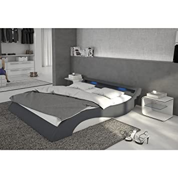 Polster Bett 140x200 Cm Grau Weiß Aus Stoff Und Kunstleder Kombi Mit