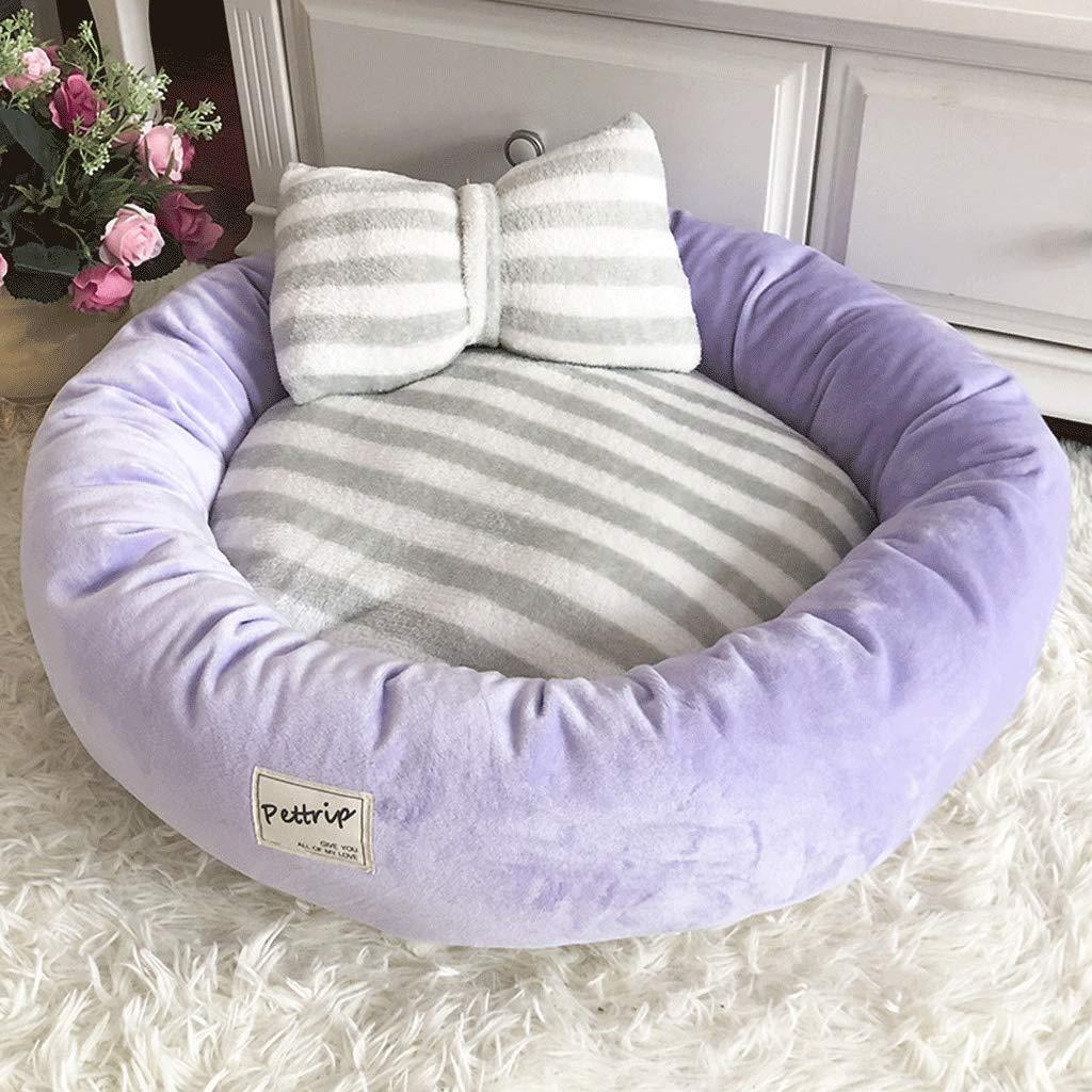 Purple 55×55×15cm Purple 55×55×15cm Crystal Velvet Round Pet Nest, Small and Medium-Sized Pomeranian Dog Bed, Four Seasons Universal Non-Slip Cat Pad Pet Supplies (color   Purple, Size   55×55×15cm)