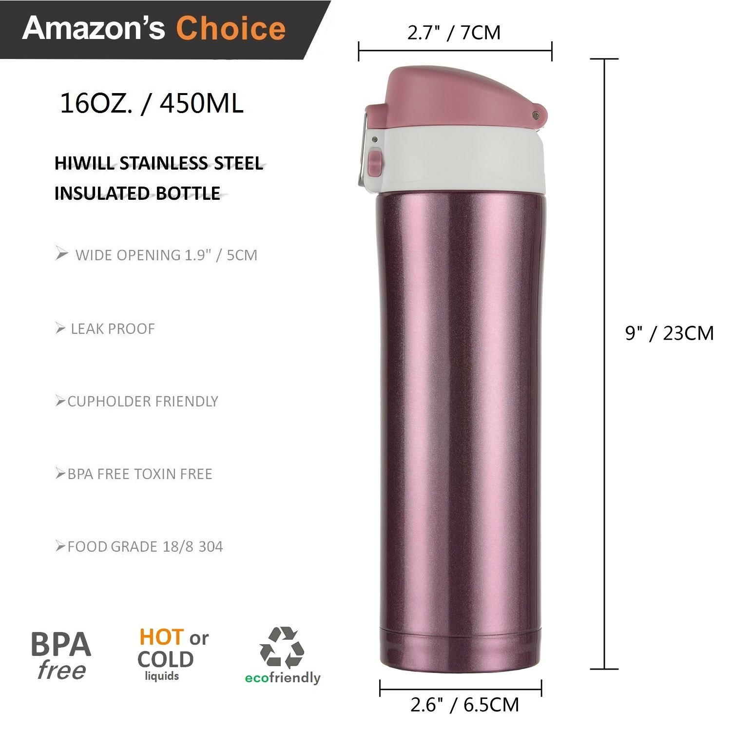 hiwill double walled vacuum insulated travel coffee mug