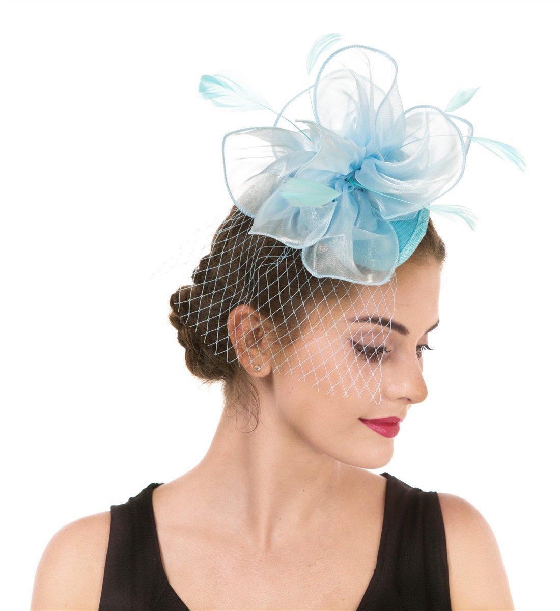 SAFERIN Fascinators Hat for Women Tea Party Headband Kentucky Derby Wedding Cocktail Flower Mesh Feathers Hair Clip (TA2-Light Blue)