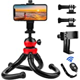 Flexible Phone Tripod, PEYOU 12 inch Camera Tripod with 2 Mount Adapters Compatible for GoPro, Cell Phone Holder and…