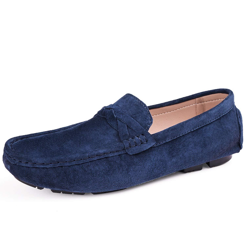 Men Casual Shoes Men Shoes Split Leather Men Loafers Moccasins Slip On Driving Mens Flats Loafers,Blue,11