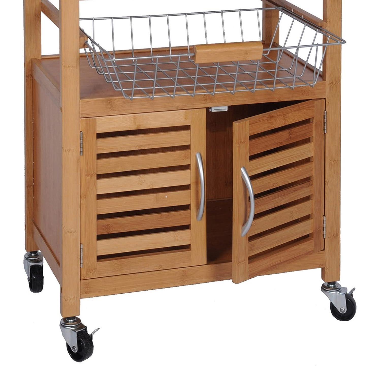 quantio Chariot de cuisine exclusif en bambou casier /à vin chariot de service roues une corbeille de fruits un tiroir